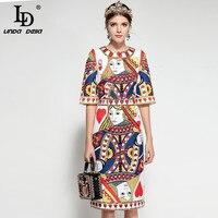 LD LINDA DELLA 2018 Runway Fashion Designer Dress Women S Half Sleeve Playing Cards Print Sequin