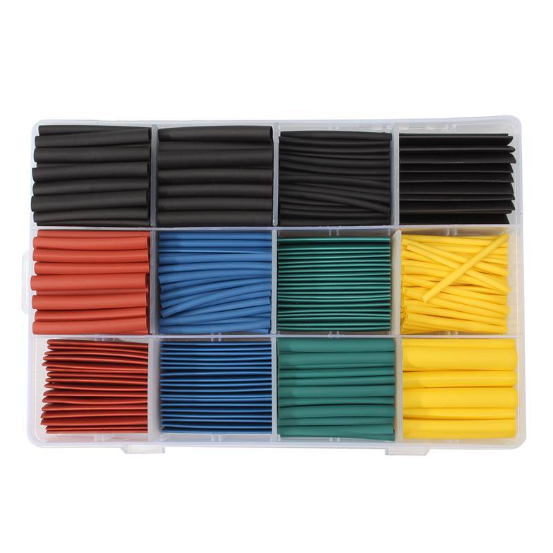 חדש 530 pcs רב צבע חום לכווץ צינורות בידוד מתכווץ מבחר אלקטרוני פוליאולפין יחס 2:1 לעטוף שרוול צינור ערכת