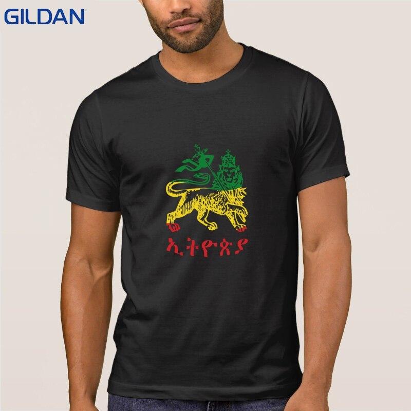 León de Judah Etiopia en 3 colores camiseta carácter Original para hombres primavera gran Funky camiseta camisetas de manga corta Camisetas