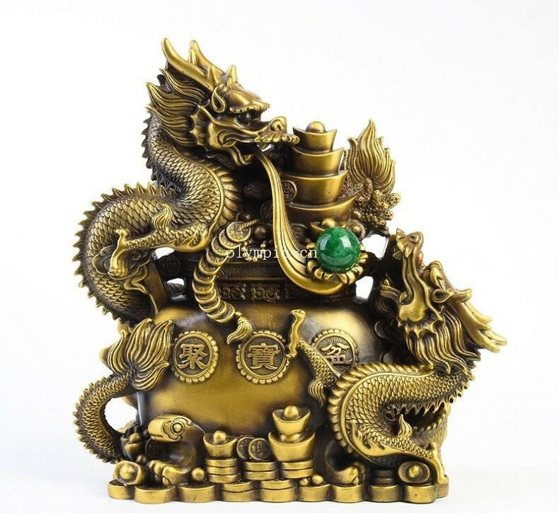 12 brass copper carved folk treasure wealth auspicious beast dragon statue12 brass copper carved folk treasure wealth auspicious beast dragon statue