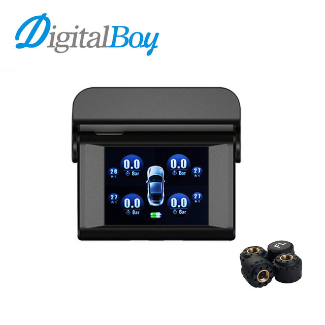 Digitalboy Car Solar TPMS with 4 Sensors Tire Pressure Monitor Real time Temperature Monitoring Alarm System New Car Electronics