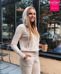 Winter Woolen + Kaschmir Gestrickte warme Anzug zipper mit kapuze Samt Pullover + Nerz Cashmere Hosen Freizeit Zwei-stück anzüge wj2812