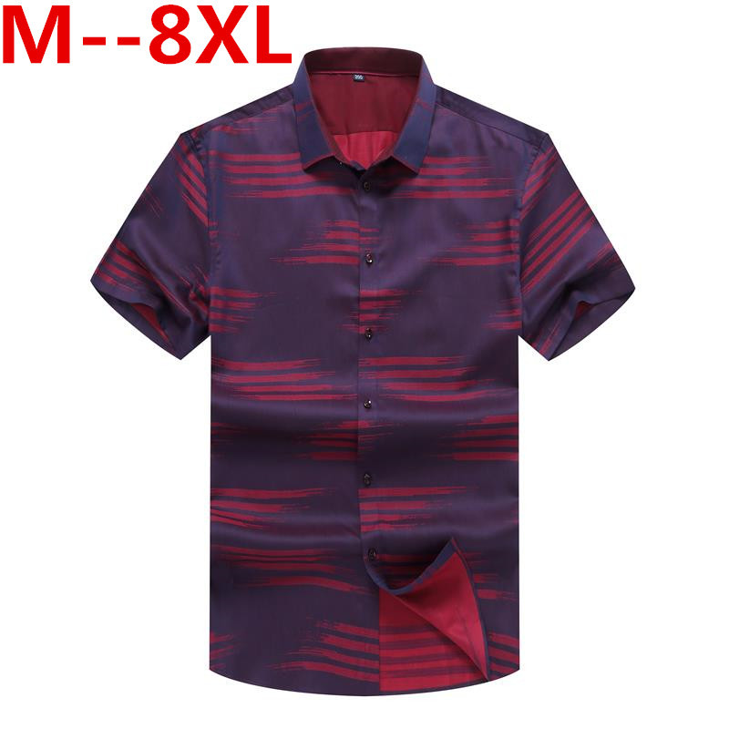 Plus 10XL 8XL 6XL 5XL 4X 2018 new summer men mens shirt short sleeve breathable loose blue shirts men clothes chemise homme ...