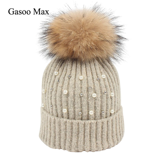 cf5fe57fdd6 2018 Wool Beanies Women s Hat Real Fur Pom Pom Pearl Knitted Hat Girls  Adults Beanie Cap Pompom Winter Warm Caps for Women