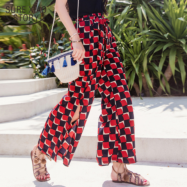 fe67d5f9f5e36 New 2018 Summer Bohemian Holiday Beach Women Chiffon Long Pants Plaid Flare  Pants Loose Plus Size Printed Trousers D807 30