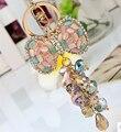 Colorful opal cristal abalorios llavero del arco / de la joyería de corea del encanto del bolso accesorios / chaveiro / llaveros / porte clef de la baratija para el coche