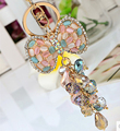 Colorful opal crystal abalorios bow keychain/korean jewelry bag charm accessories/chaveiro/llaveros/porte clef/trinket for car