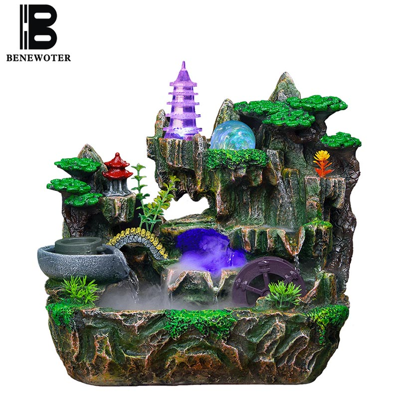110V/220V Creative Rockery Flowing Water Fountain Craft Feng Shui Wheel Living Room Office Desktop Ornaments Retro Business Gift