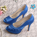 Dropshipping Peep Toe Platform Shoes Blue Satin Wedding Pumps Free Shipping