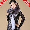 Женский осень зима плюс размер Утолщение Лисий мех глушитель шарф Мужской теплый меховой плащ синий белый мех лисы шарф
