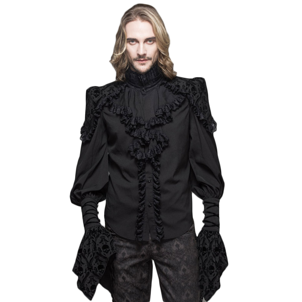 Steampunk Gothic Men Lace Blouses Victorian Double Layer Cuff Ruffle Black Shirts Skull Print Petal Sleeve
