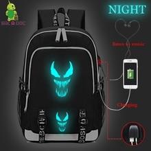 Venom Prints Backpack Travel Backpacks Men & Women Laptop Bag College Bags with Usb Charging Port  Lock &Headphone Interface