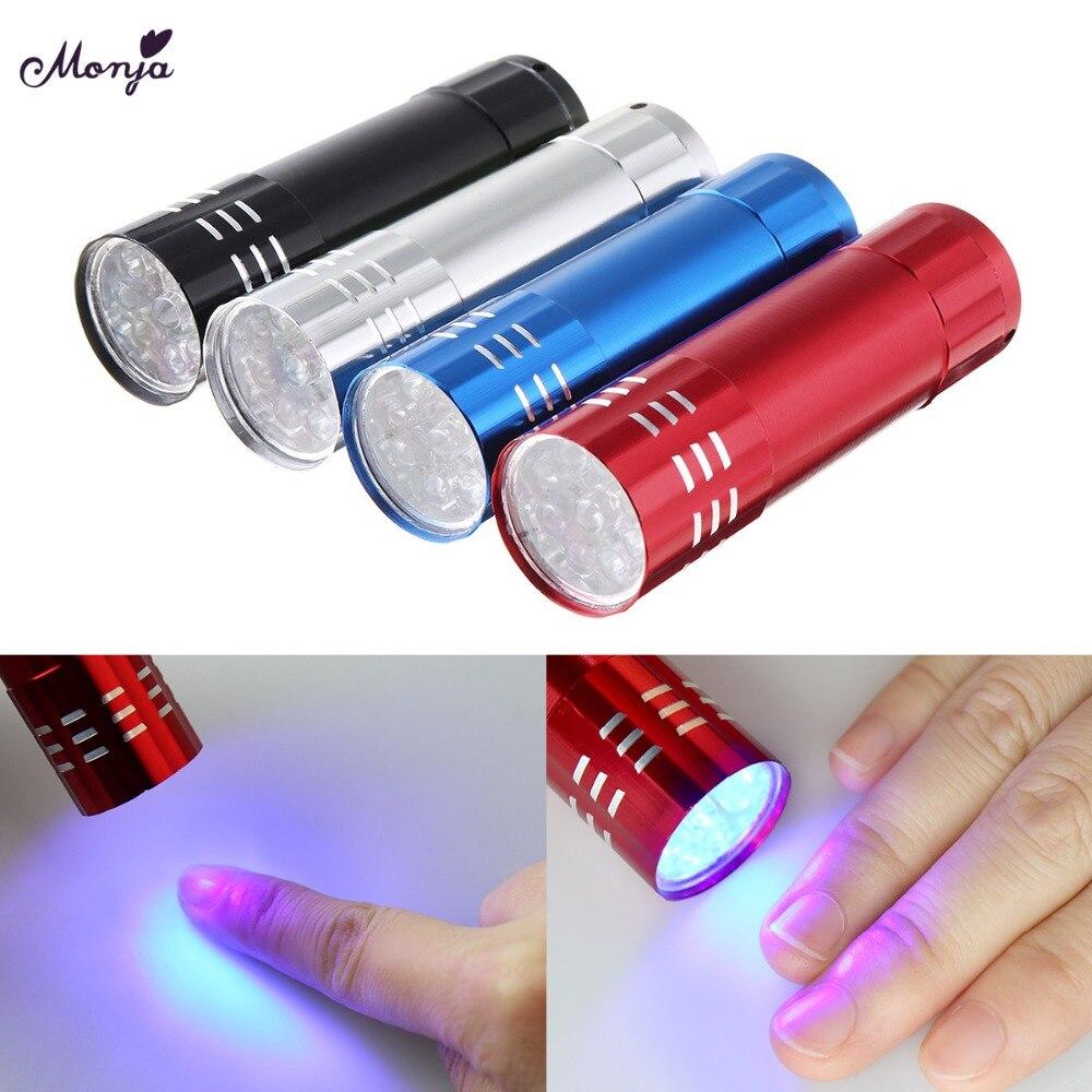 Monja 4 Colors Portable Nail Art Nail Polish Fast Dryer UV Gel Cure Lamp Mini LED Flashlight UV Lamp Manicure Tool