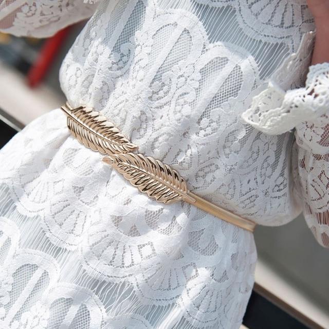 Women Belts Leaf Shape Belt Metal Leaves Cummerbund Clasp Front Stretch Waistband Gold Silver Elastic Waist Belt