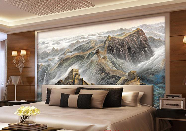 3d hand painted the great wall mural conference room for Chinese wall mural