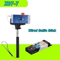 KJSTAR Z07-7 Uitschuifbare Bedrade Selfie Stick Monopod Kabel Bedrade Android iOS met Mobiele Telefoon Mount Houder Selfie Perche Selfies