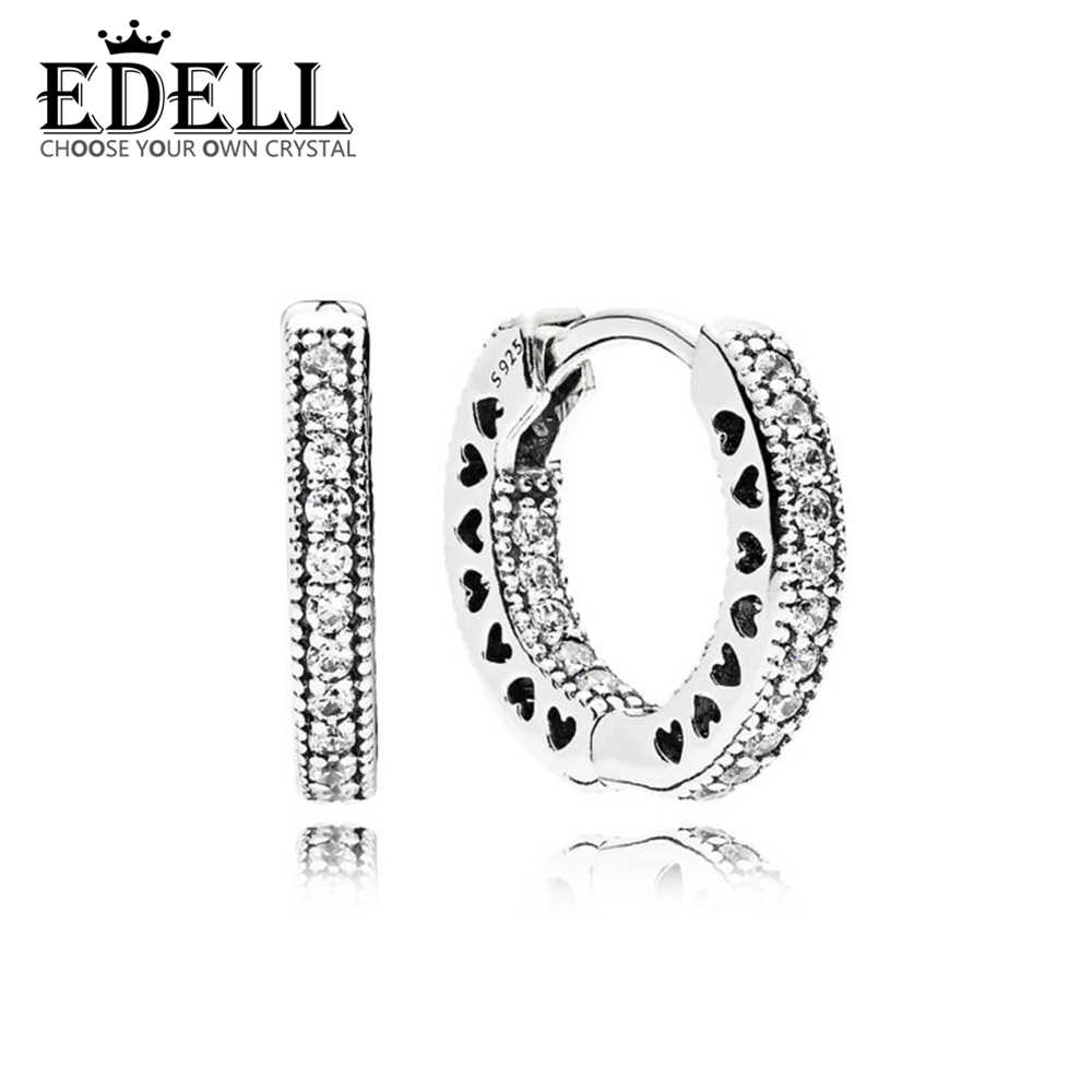 b259d8091 EDELL 100% Sterling silver 1:1 Glamour 296317CZ SMALL HEARTS OF EARRING  Original Women