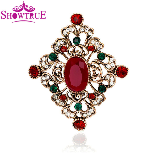 Captivating SHOWTRUE New Fashion European Royal Vintage Rhombus Shape Flower Brooch For Women  Rhinestone Brooches Pin Jewelry