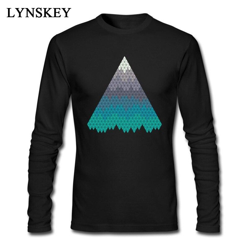15e02d4a9068 Геометрические горы топ футболки для мужчин Забавный Черная пятница принт  Длинные Мейбл футболки Дешевые повседневные мужские