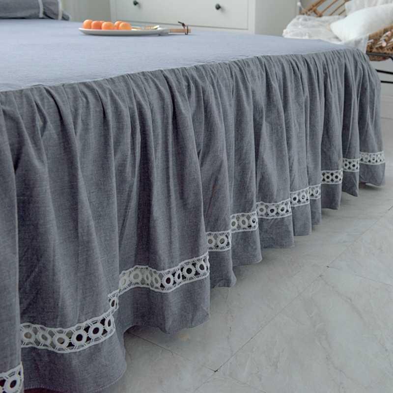 ホームテキスタイルベッドスカートセット 180*200 センチメートルベッドシートセットクイーン王韓国スタイルレースグレーマットレスカバー枕カバーソリッド寝具