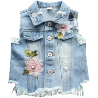 Children Outwear 2 5T Spring Kids Vest Jeans Jacket Denim Outerwear Flower Printed Clothes Kids Jeans Vest Children Clothing