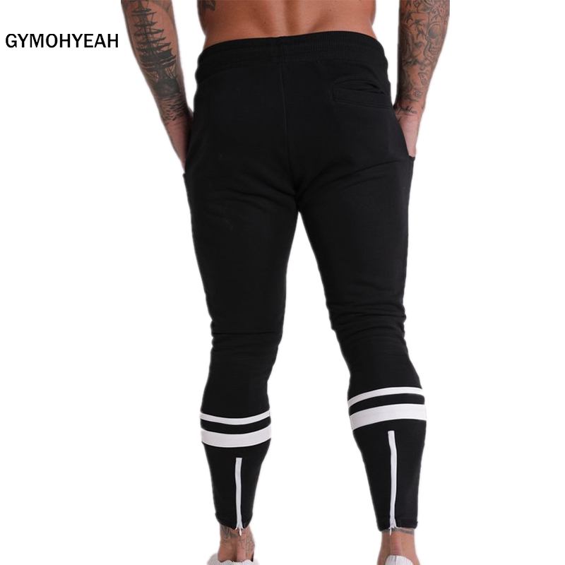 GYMOHYEAH Joggers Male Trousers Casual Pants Men Sweatpants Jogger Casual Elastic Cotton GYMS Fitness Workout PanTS Black Gray