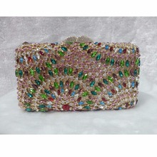 8305A Crystal Lady fashion Bridal Party hollow Metal Evening purse clutch bag case box handbag