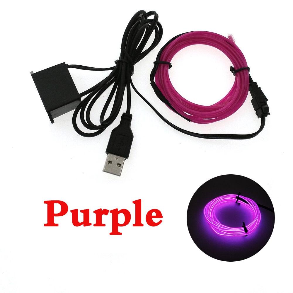 Купить с кэшбэком 3V/5V/12V Neon Light Dance Party Decor car Lights Neon LED lamp Flexible 2.3MM  EL Wire Rope Tube LED Strip With inverter
