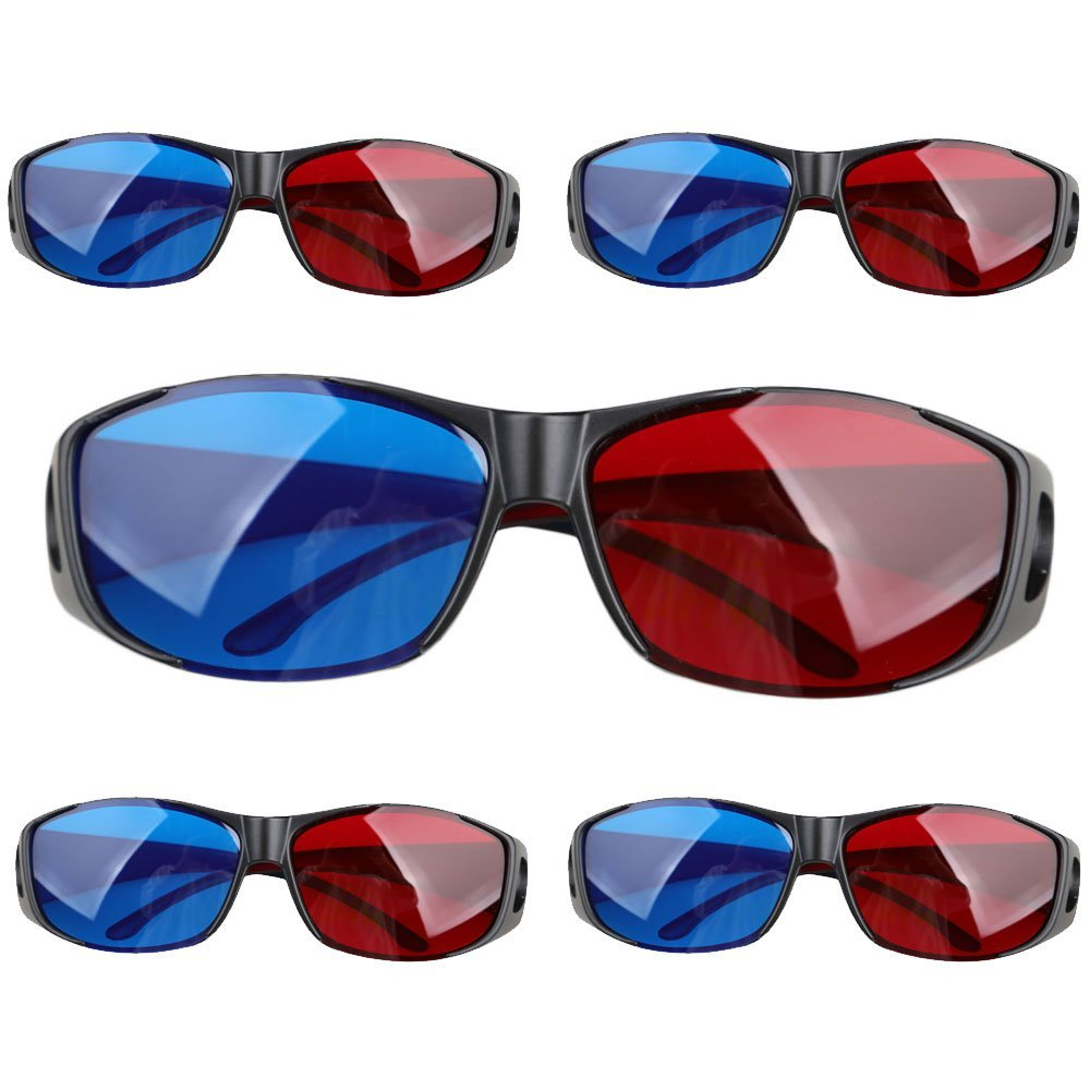 Top Deals 5pairs Red+Blue Plasma TV Movie Dimensional Anaglyph 3D Vision Glasses (Anaglyph Frame), Black