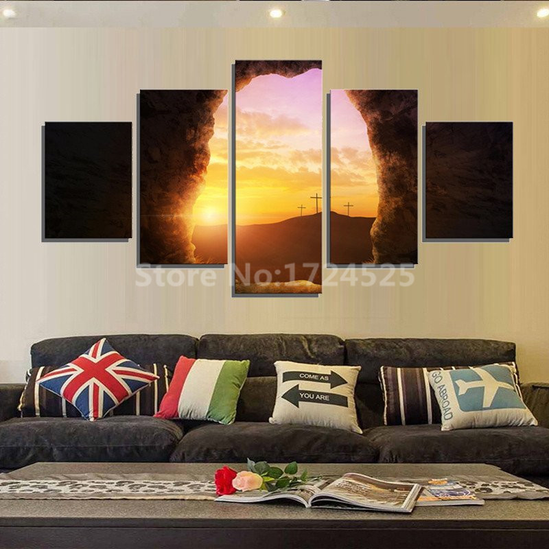 5 Pcs Modern Wall Art Home Decor Prints Christian Tomb Canvas Sunset Pictures Painting On The Wall In Cheap Price Unframed