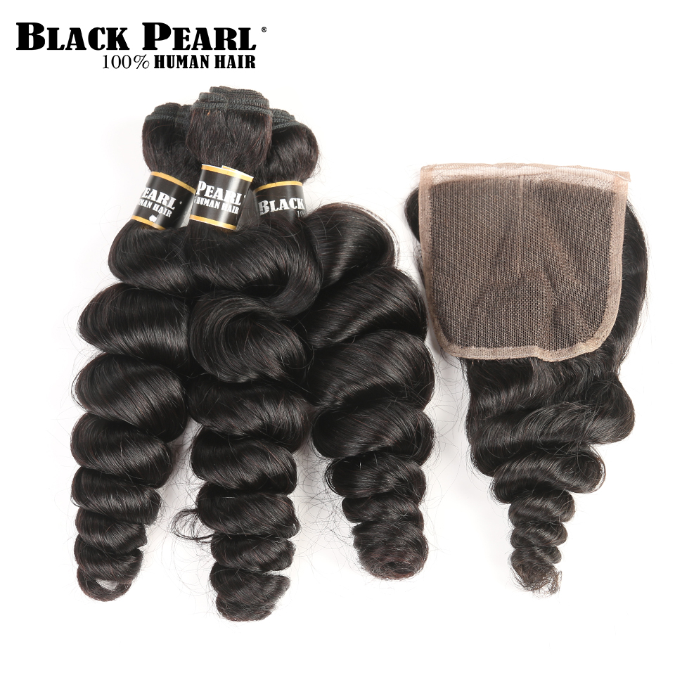 Blackpearl Malaysian Hair Bundles With Closure Non-Remy Human Hair 3 Bundles With Closure 1B# Loose Wave Bundles With Closure