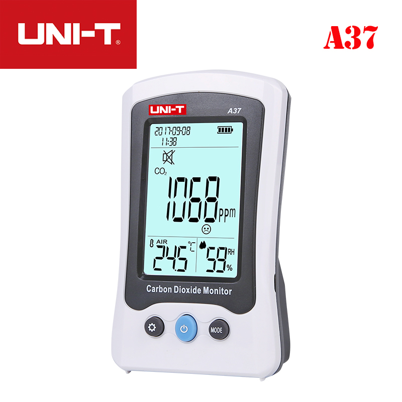 UNI T A37 Digital Carbon Dioxide Detector Laser Air Quality Monitoring Tester CO2 Detection 400PPM~5000PPM CO2 Meter For Home Gas Analyzers     - title=