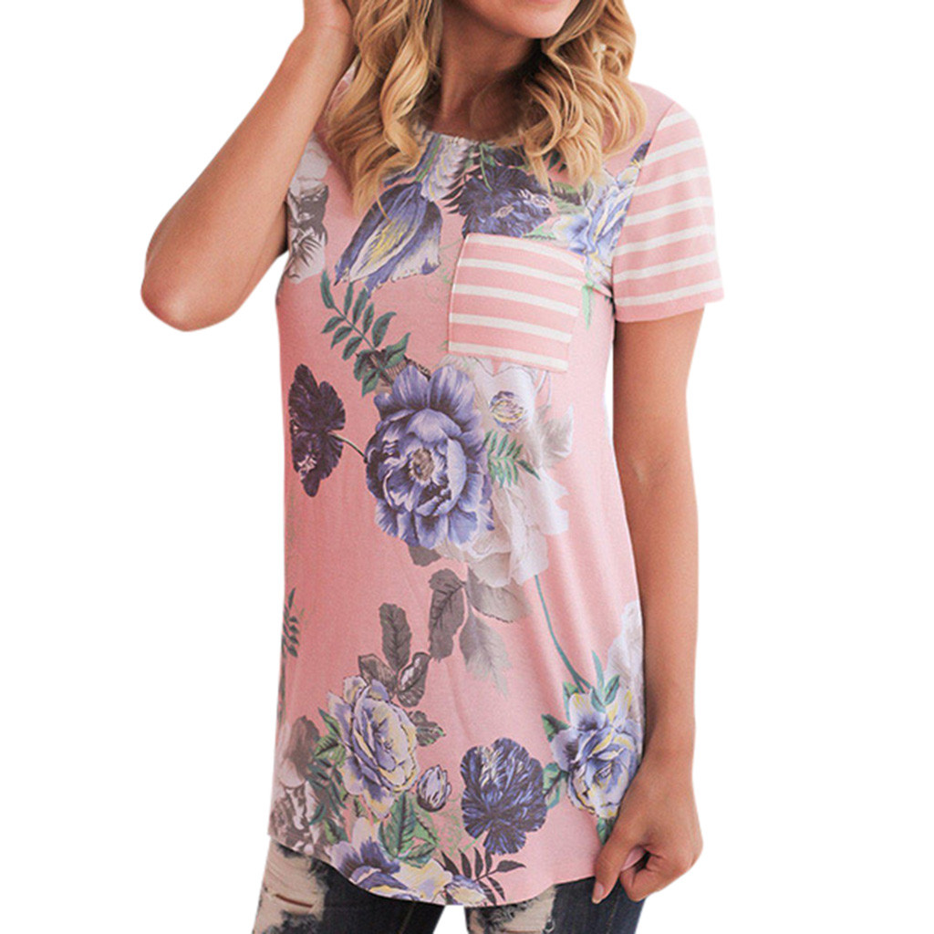 Women Pregnant Nusring Maternity Short Sleeve Stripe Print Floral Blouse Tops Breastfeeding Clothes Summer Maternity Wear #LR1