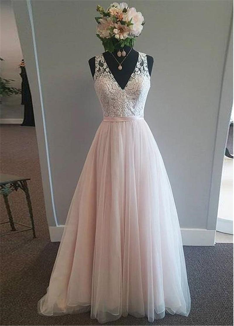 Image 3 - Modest Tulle V neck Neckline A Line Wedding Dress With Lace Appliques & Belt Pink Tulle Bridal Dress Reals-in Wedding Dresses from Weddings & Events