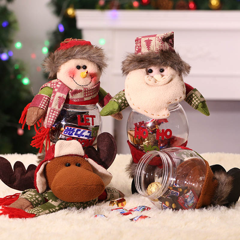 Christmas Santa Snowman Elk Plastic Candy Container Christmas Gift Candy Jars Snack Tank Christmas Decoration Candy Tank