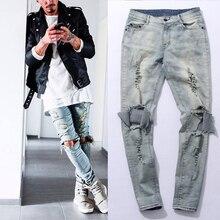 Hip Hop Justin Bieber represent Same jeans Men Light Blue/Black designer rock star destroyed Ripped Skinny distressed jeans