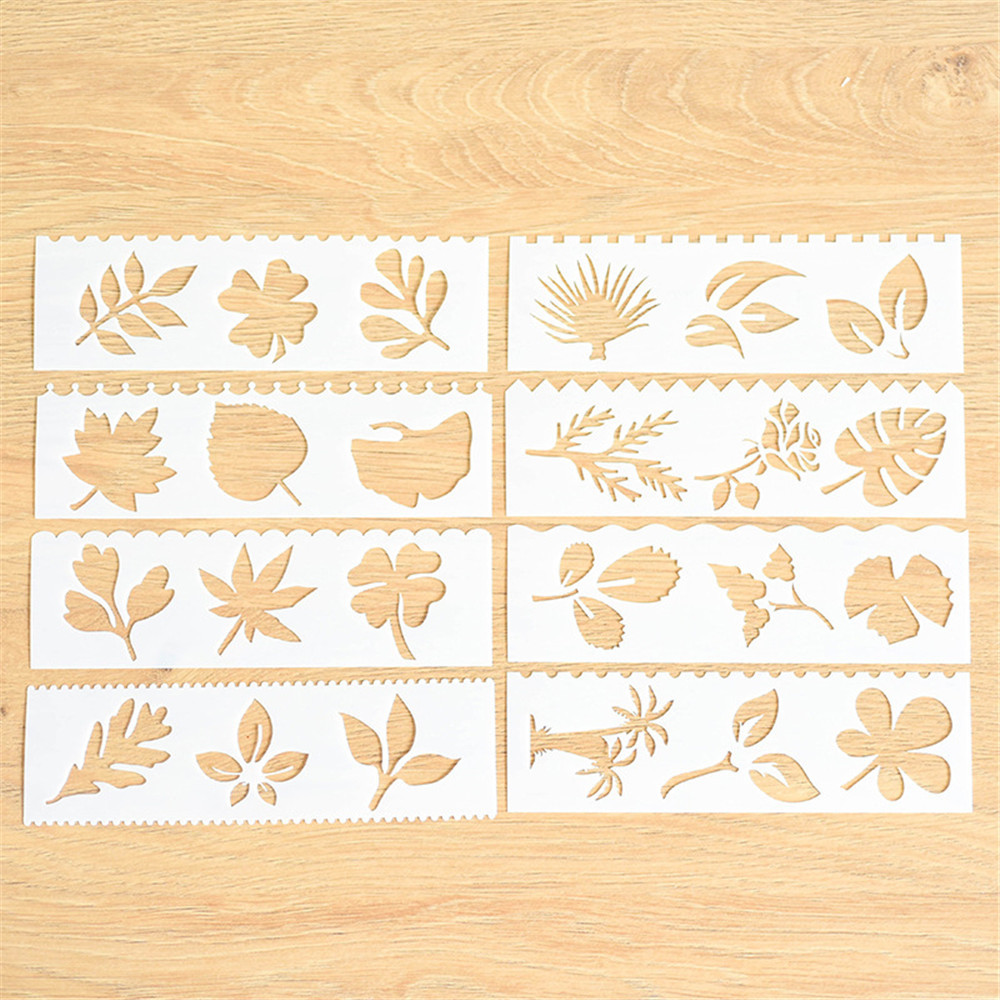 8pcs/set Leaves Theme Layering Stencils For Walls Painting ...