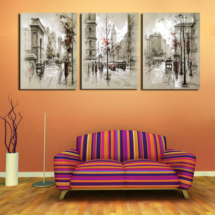 Aliexpress Com Buy Modern Paintings Home Decor Abstract Canvas Painting Retro City Street Landscape Decorative Pictures 3 Panel Wall Art No Framed From