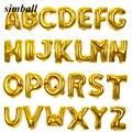16 дюймов золотистые Серебристые шарики с буквенным принтом шарик из фольги в форме вечерние поставки Алфавит алюминиевый Надувной Воздушн...
