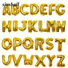 Ballon à Air gonflable en aluminium avec lettres dorées et argentées de 16 pouces, fournitures de fête, décoration de fête d'anniversaire et de mariage, Alphabet