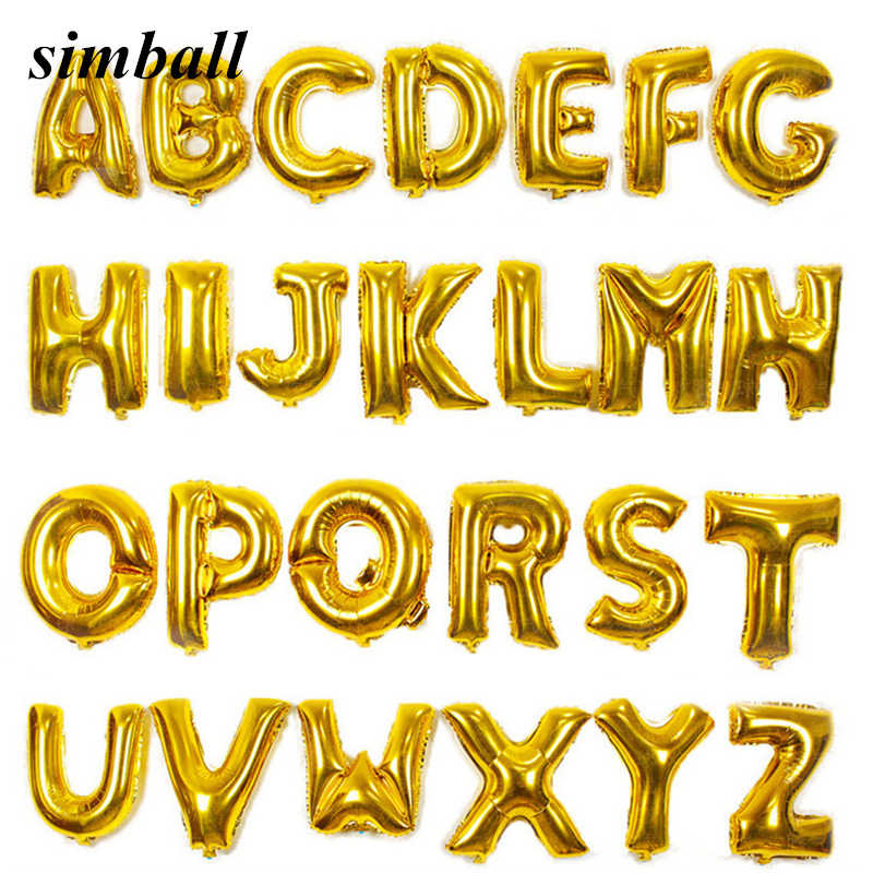 16 inch זהב כסף מכתב רדיד בלון ספקי צד אלפבית אלומיניום מתנפח אוויר בלון מסיבת יום הולדת חתונת קישוט