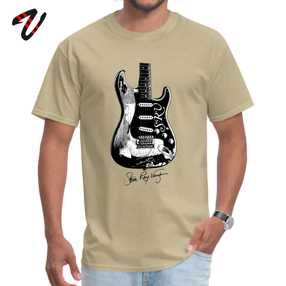 Normal Tshirts Funny Short Sleeve 2019 Newest O-Neck All Cotton Tees Normal Sweatshirts for Adult Summer Fall Drop Shipping Stevie Ray Vaughan Guitar Blues Rock legend beige