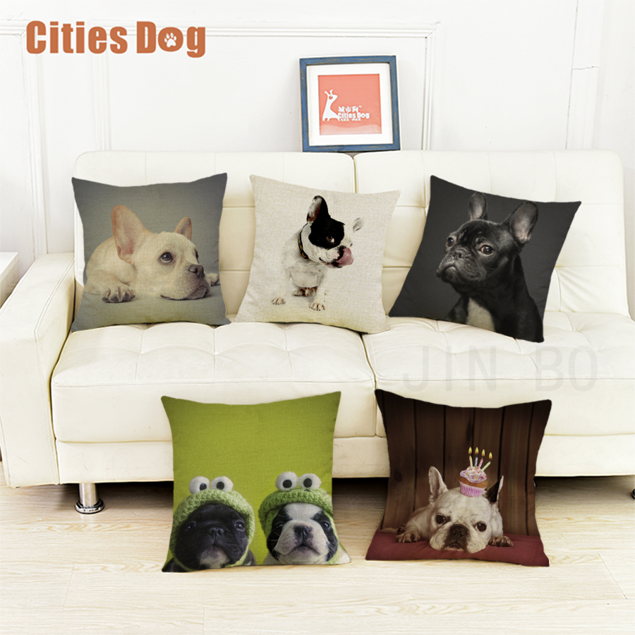 French Bulldog dog cushion sofa cover pillows decorative 2018 new Year Valentines Day gift dogs pillowcases almofada cojines
