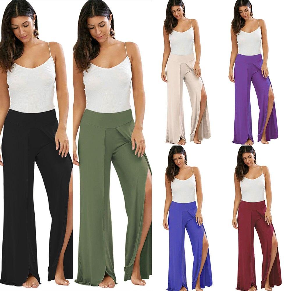 Sexy Women High Split   Wide     Leg     Pants   Flowy Casual Summer Beach Long Loose Harem Sport Trousers KS-shipping