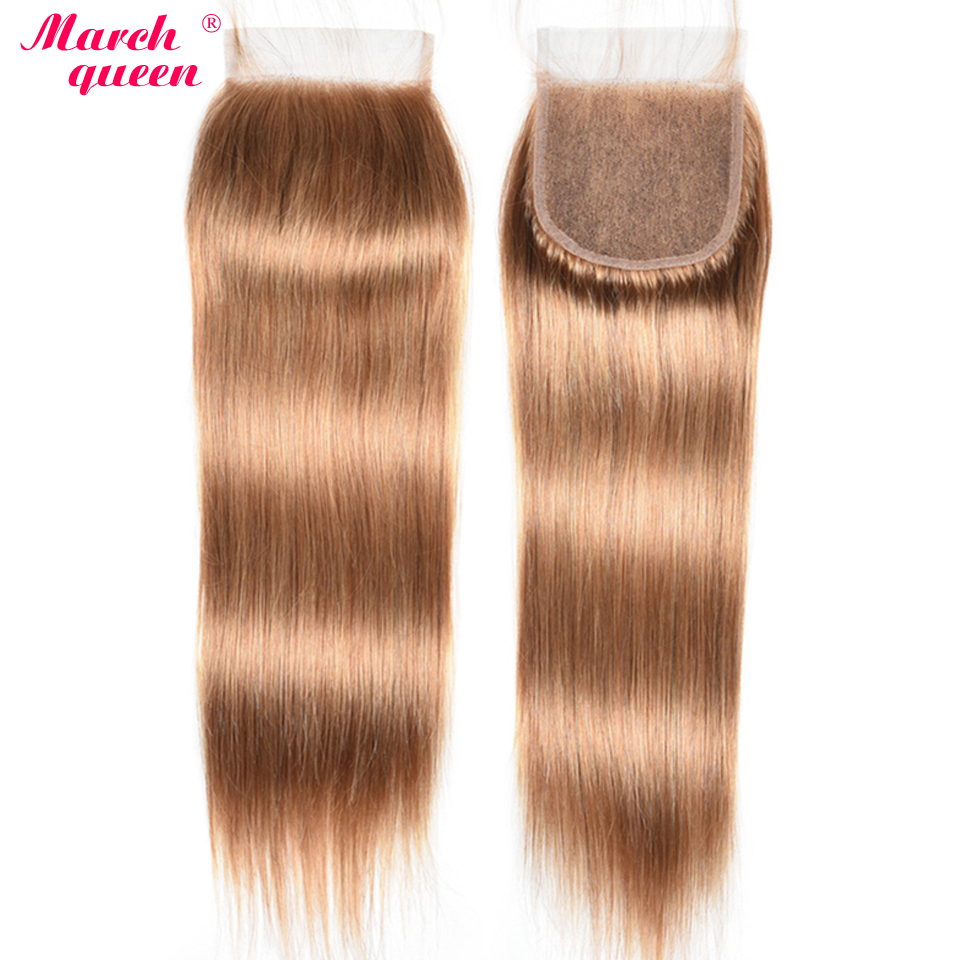marchqueen Indian Human Hair Lace Closure With Baby Hair Pre Colored 4*4 Closure Swiss Lace Straight Indian Hair 10 20