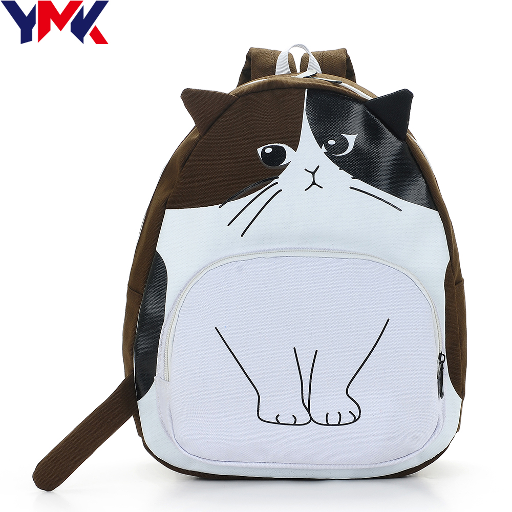 YMK Brand Canvas Cat Printing Backpack Women School Bags For Teenage Girl Rucksack Animal Bag Female Travel Laptop Backpack