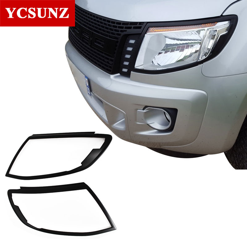 Car Accessories ABS Black Headlight Covers Lamp Surrouds Trim For Ford Ranger T6 2012-2014