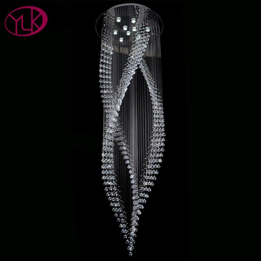 Youlaike Lusso Moderno Lampadario Di Cristallo Lunga Scala Cristalli Appesi Apparecchi di Illuminazione AC110-240V LED Lustri De Cristal