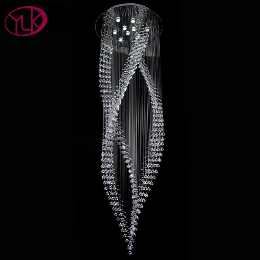 Youlaike luxe moderne lustre en Cristal Long escalier suspendus cristaux luminaires AC110-240V LED Lustres De Cristal