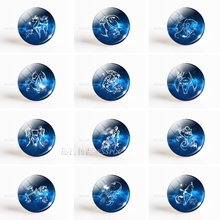 12 Horoscope Birthday Gift Cute Cabochon Zodiac Pisces Signs Aries Leo Constellations Virgo Jewelry Glass Women 5PCS/SET